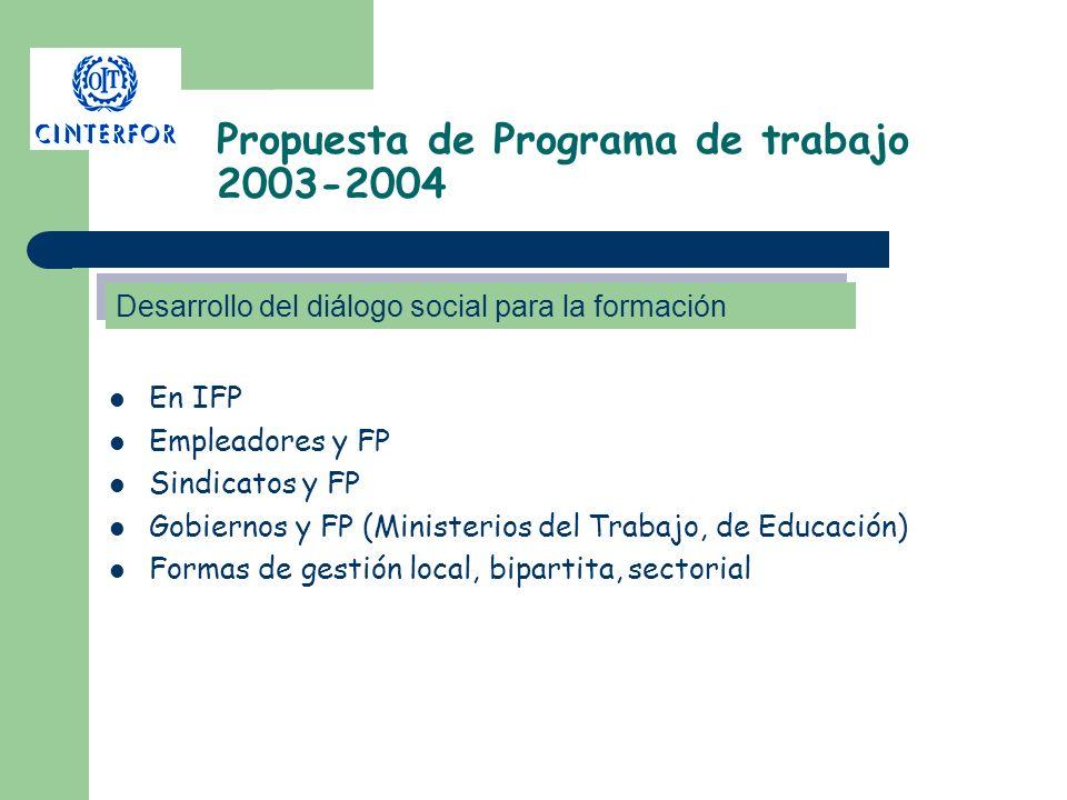 Propuesta de Programa de trabajo 2003-2004 En IFP Empleadores y FP Sindicatos y FP Gobiernos y FP (Ministerios del Trabajo, de Educación) Formas de ge