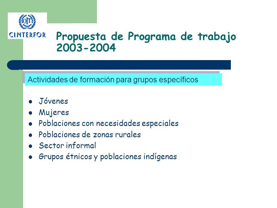 Propuesta de Programa de trabajo 2003-2004 Jóvenes Mujeres Poblaciones con necesidades especiales Poblaciones de zonas rurales Sector informal Grupos