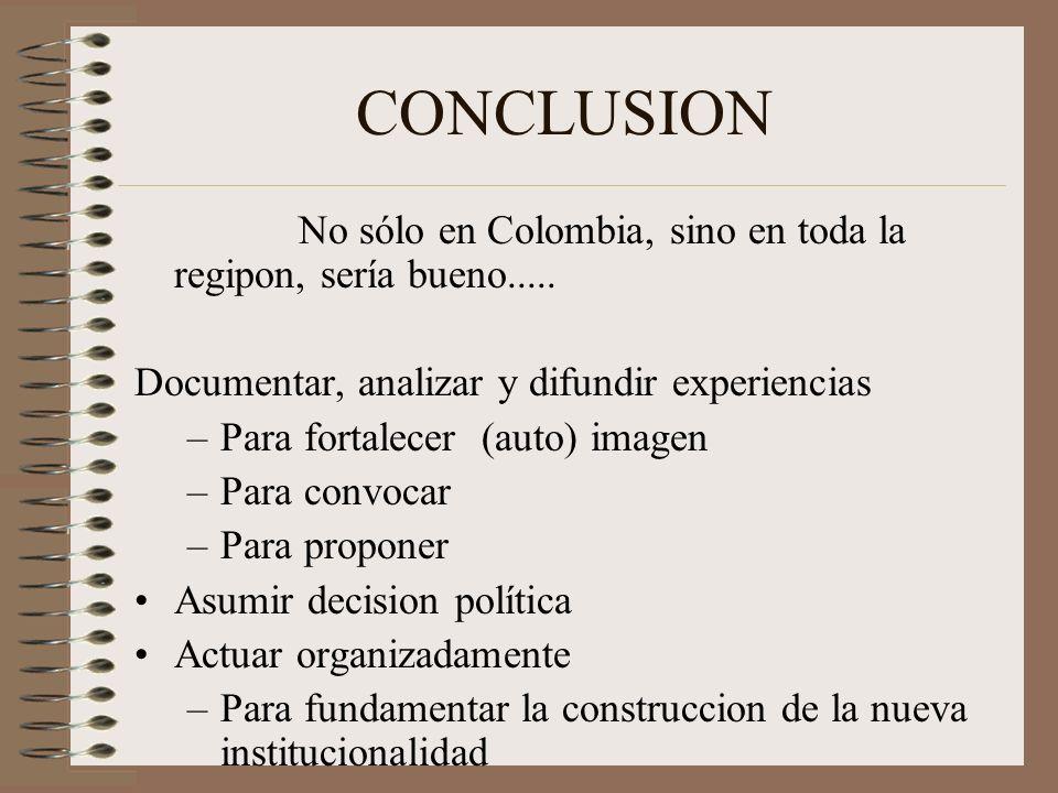 CONCLUSION No sólo en Colombia, sino en toda la regipon, sería bueno.....