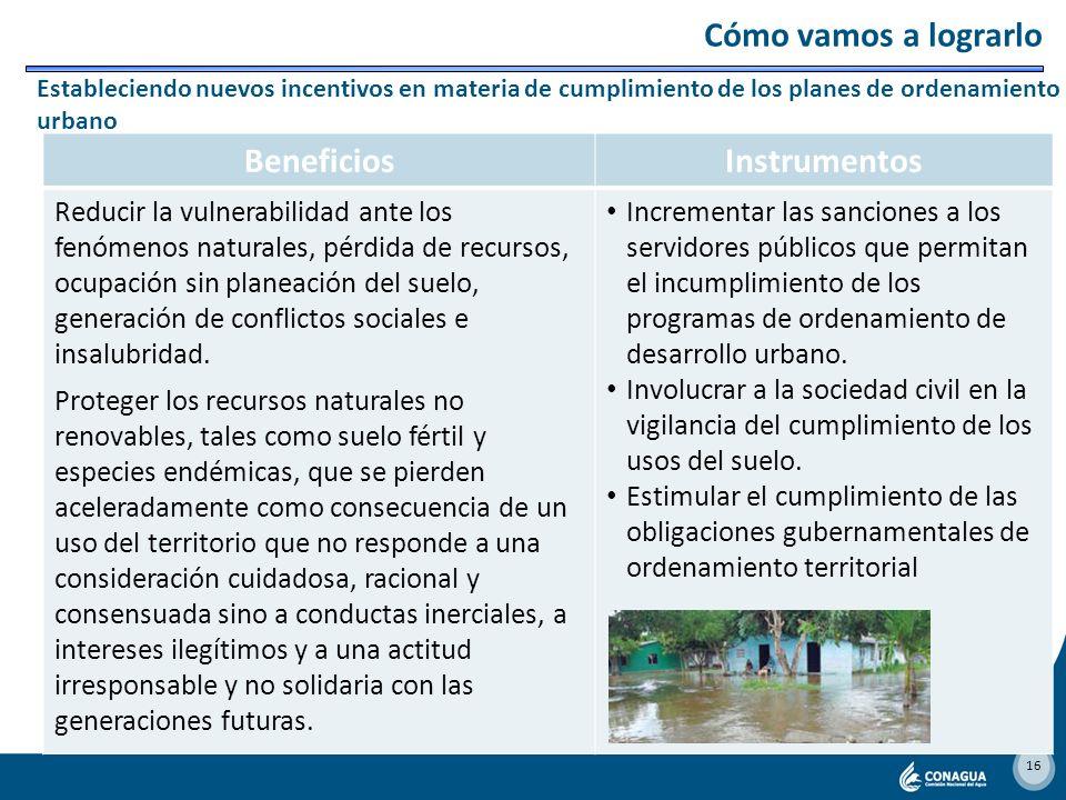 15 BeneficiosInstrumentos Incrementar la productividad del agua, que redundará en mayores ingresos de los productores, en el uso más eficiente del agu