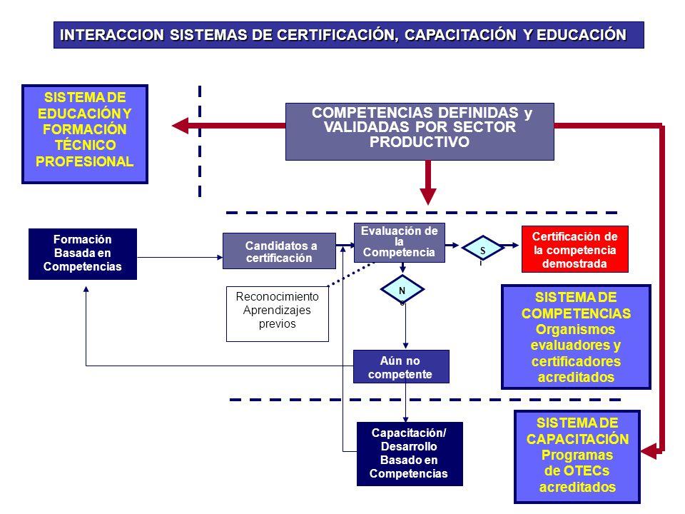 INTERACCION SISTEMAS DE CERTIFICACIÓN, CAPACITACIÓN Y EDUCACIÓN NoNo Candidatos a certificación Evaluación de la Competencia Certificación de la competencia demostrada Aún no competente Reconocimiento Aprendizajes previos SiSi SISTEMA DE COMPETENCIAS Organismos evaluadores y certificadores acreditados COMPETENCIAS DEFINIDAS y VALIDADAS POR SECTOR PRODUCTIVO Capacitación/ Desarrollo Basado en Competencias SISTEMA DE EDUCACIÓN Y FORMACIÓN TÉCNICO PROFESIONAL SISTEMA DE CAPACITACIÓN Programas de OTECs acreditados Formación Basada en Competencias