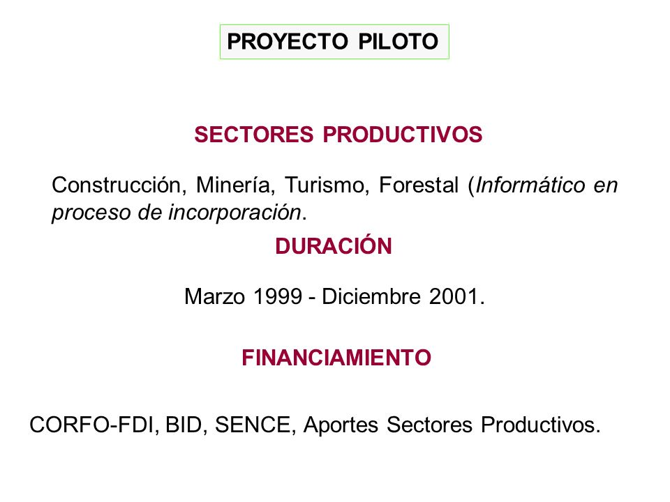 PROYECTO PILOTO Construcción, Minería, Turismo, Forestal (Informático en proceso de incorporación.