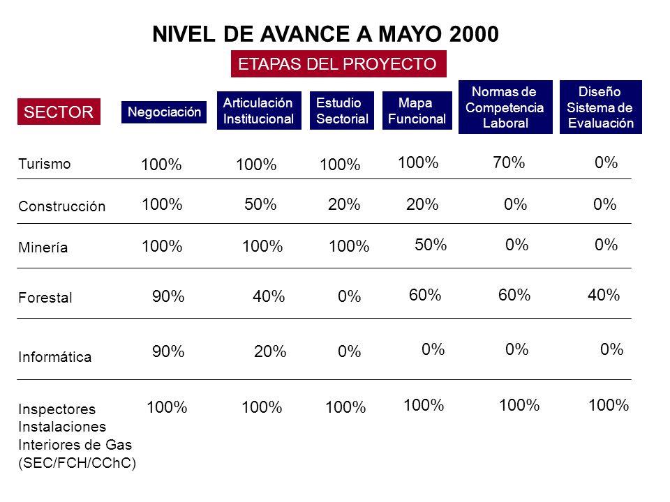 NIVEL DE AVANCE A MAYO 2000 SECTOR ETAPAS DEL PROYECTO Negociación Articulación Institucional Estudio Sectorial Mapa Funcional Normas de Competencia Laboral Diseño Sistema de Evaluación Turismo Construcción Minería Inspectores Instalaciones Interiores de Gas (SEC/FCH/CChC) Forestal Informática 100% 90% 100% 50% 100% 40% 20% 100% 20% 100% 0% 100% 20% 50% 60% 0% 100% 70% 0% 60% 0% 100% 0% 40% 0% 100% 0%