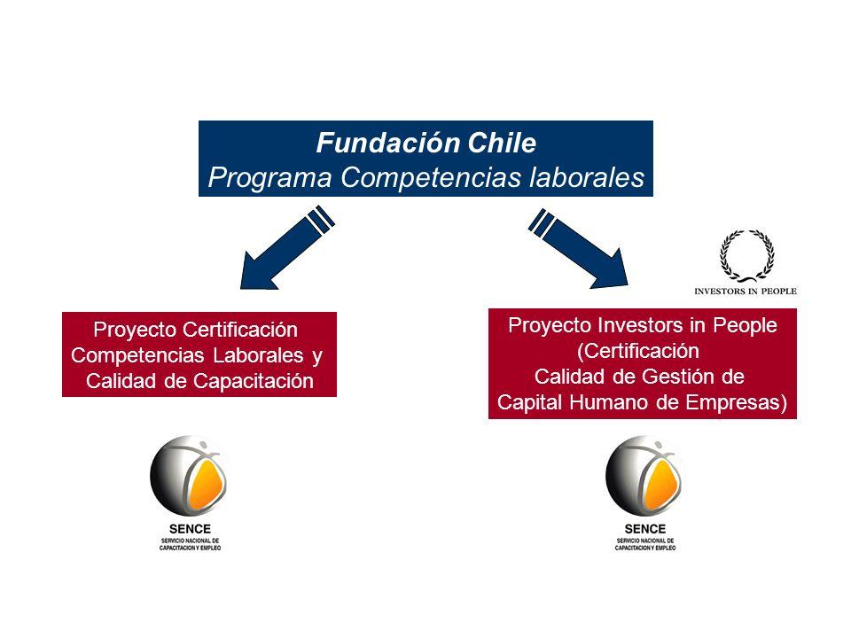 Fundación Chile Programa Competencias laborales Proyecto Certificación Competencias Laborales y Calidad de Capacitación Proyecto Investors in People (Certificación Calidad de Gestión de Capital Humano de Empresas)