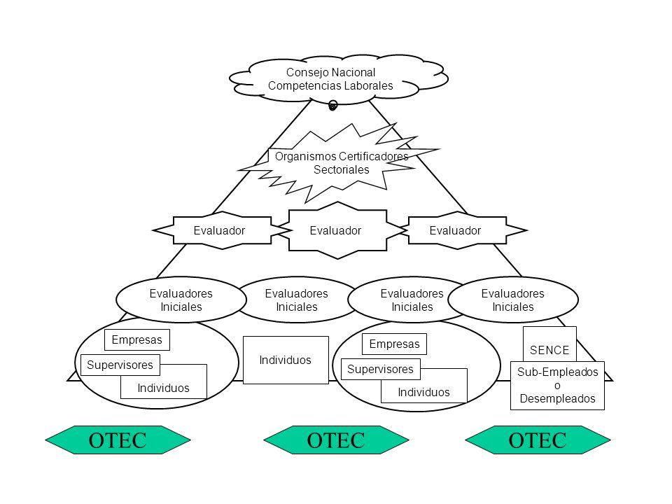 Consejo Nacional Competencias Laborales Evaluador Individuos Supervisores Empresas Evaluador Individuos Supervisores Empresas SENCE Sub-Empleados o Desempleados Organismos Certificadores Sectoriales Evaluadores Iniciales OTEC
