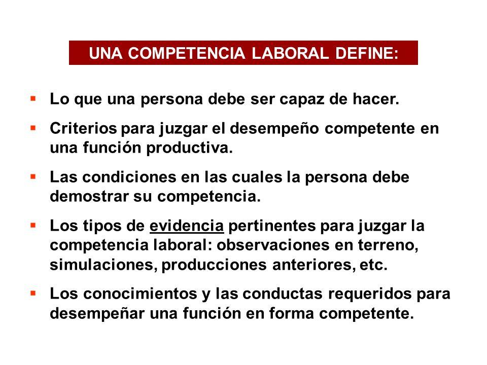 UNA COMPETENCIA LABORAL DEFINE: Lo que una persona debe ser capaz de hacer.