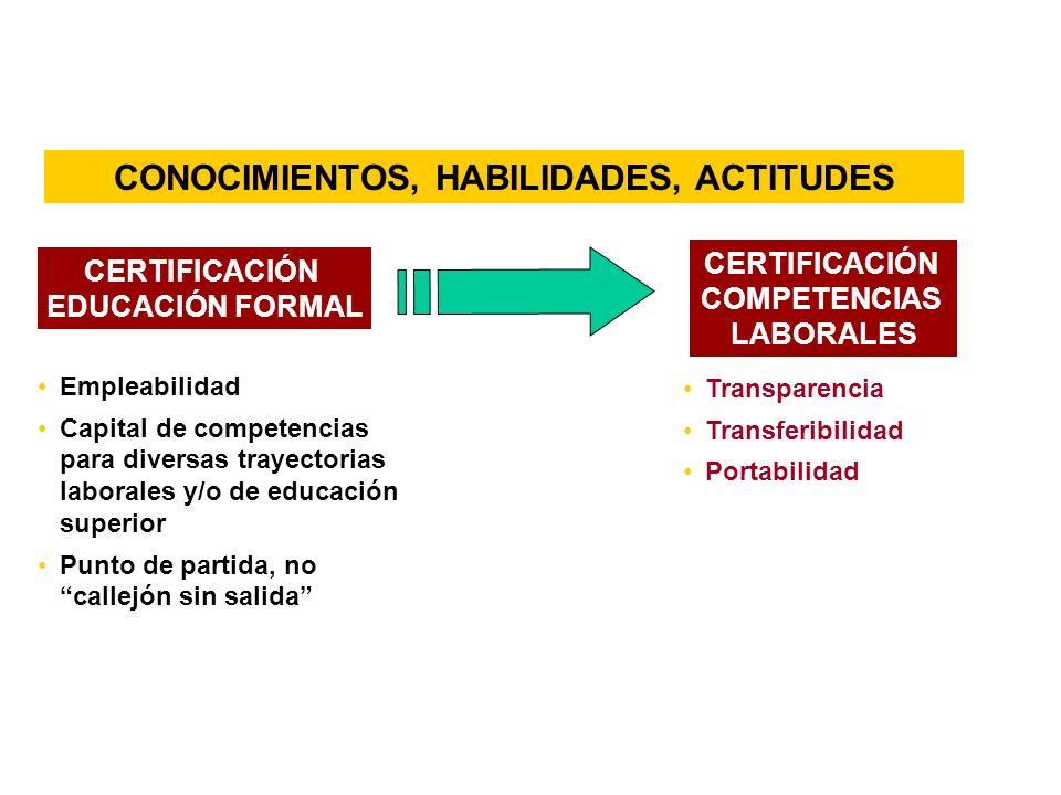 Empleabilidad Capital de competencias para diversas trayectorias laborales y/o de educación superior Punto de partida, no callejón sin salida Transparencia Transferibilidad Portabilidad CONOCIMIENTOS, HABILIDADES, ACTITUDES CERTIFICACIÓN COMPETENCIAS LABORALES CERTIFICACIÓN EDUCACIÓN FORMAL