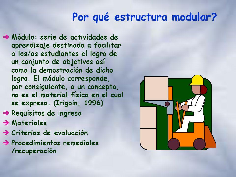 Por qué estructura modular? èAdecuación a las poblaciones adultas heterogéneas ècoherente con una concepción sistémica èflexibilidad y adaptación a la