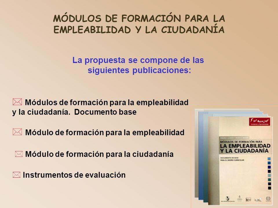 MÓDULOS DE FORMACIÓN PARA LA EMPLEABILIDAD Y LA CIUDADANÍA La propuesta se compone de las siguientes publicaciones: * Instrumentos de evaluación Módulos de formación para la empleabilidad y la ciudadanía.