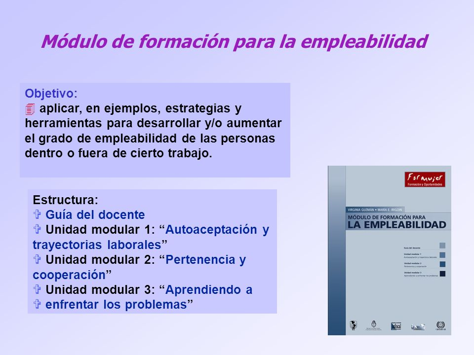 Módulo de formación para la empleabilidad Objetivo: 4 aplicar, en ejemplos, estrategias y herramientas para desarrollar y/o aumentar el grado de empleabilidad de las personas dentro o fuera de cierto trabajo.