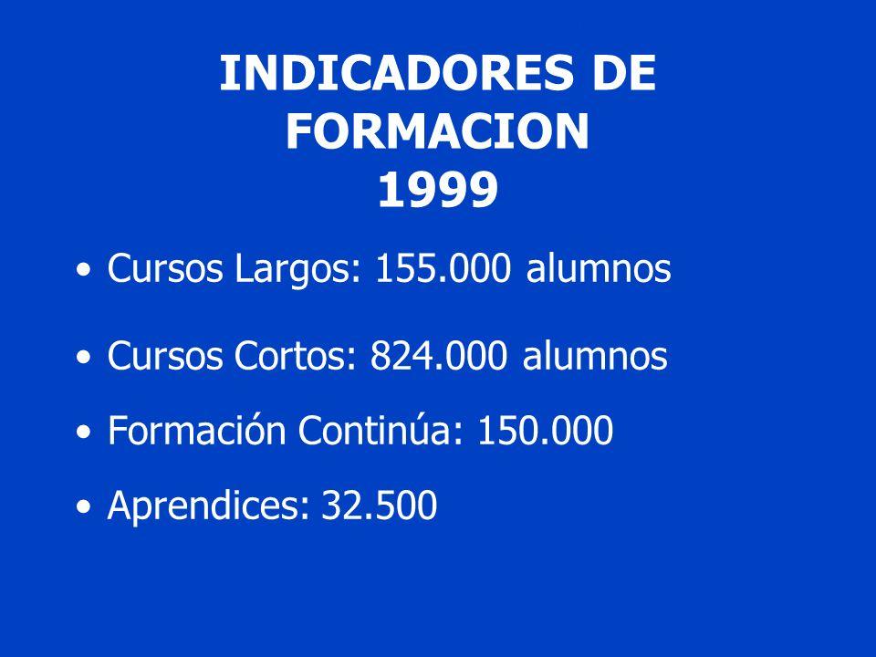FUNCIONES DE LOS CONSEJOSFUNCIONES DE INDICADORES DE FORMACION 1999 Cursos Largos: 155.000 alumnos Cursos Cortos: 824.000 alumnos Formación Continúa: 150.000 Aprendices: 32.500