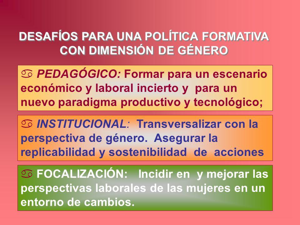 DESAFÍOS PARA UNA POLÍTICA FORMATIVA CON DIMENSIÓN DE GÉNERO a PEDAGÓGICO: Formar para un escenario económico y laboral incierto y para un nuevo parad