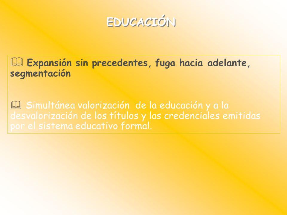 EDUCACIÓN Expansión sin precedentes, fuga hacia adelante, segmentación Simultánea valorización de la educación y a la desvalorización de los títulos y
