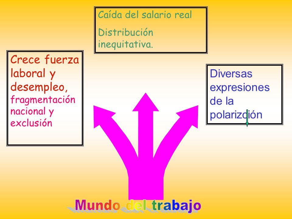 Caída del salario real Distribución inequitativa. Crece fuerza laboral y desempleo, fragmentación nacional y exclusión Diversas expresiones de la pola