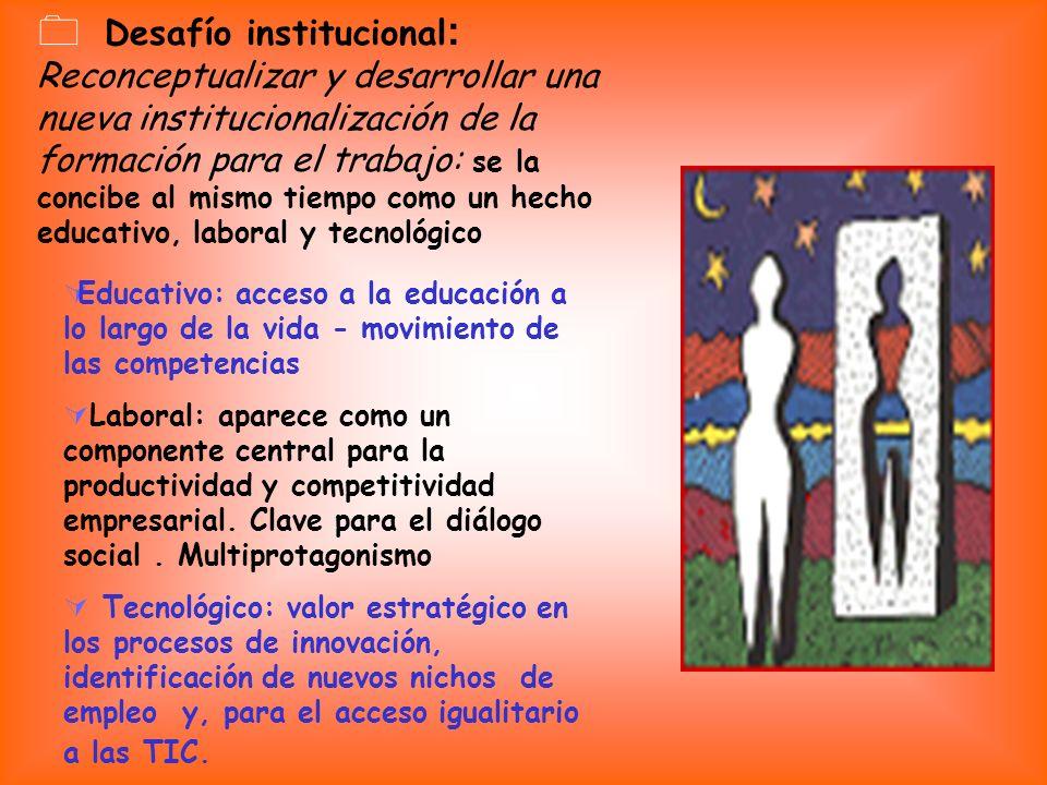 Desafío institucional : Reconceptualizar y desarrollar una nueva institucionalización de la formación para el trabajo: se la concibe al mismo tiempo c