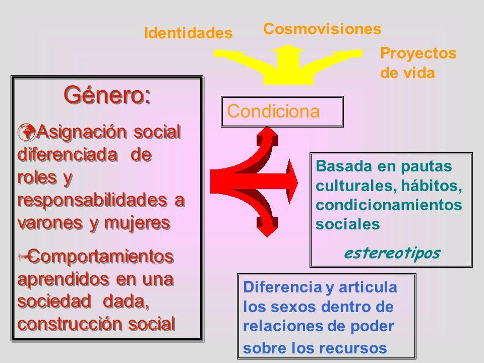 Género: Asignación social diferenciada de roles y responsabilidades a varones y mujeres Comportamientos aprendidos en una sociedad dada, construcción