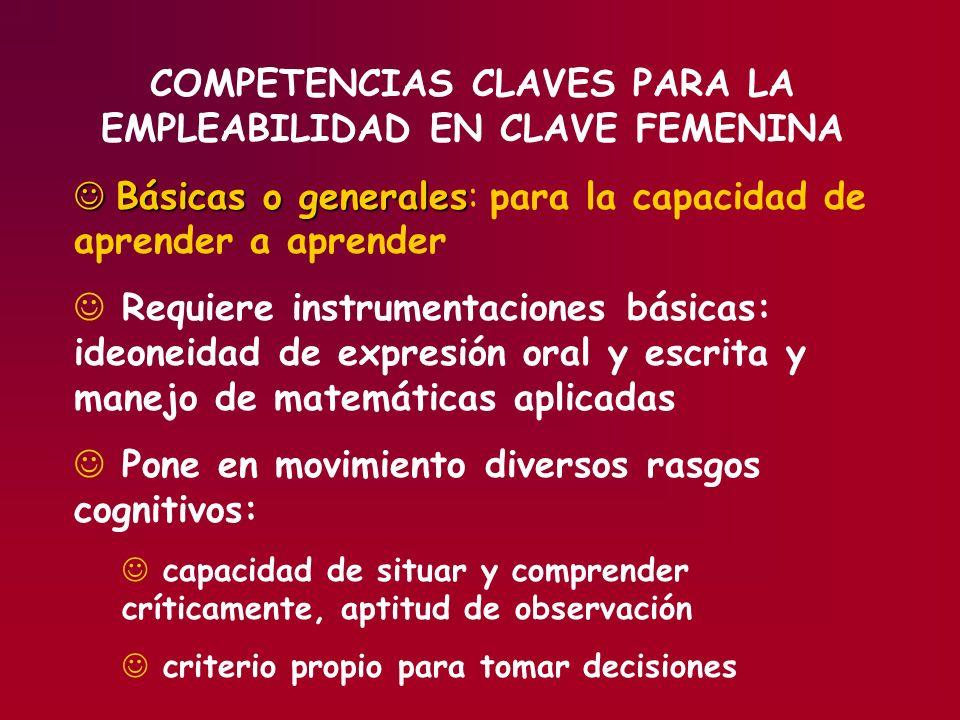 COMPETENCIAS CLAVES PARA LA EMPLEABILIDAD EN CLAVE FEMENINA Básicas o generales Básicas o generales: para la capacidad de aprender a aprender J Requie