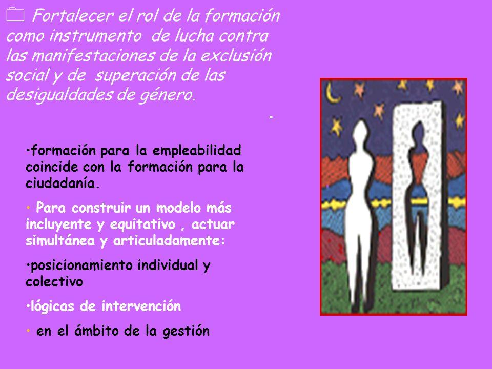 Fortalecer el rol de la formación como instrumento de lucha contra las manifestaciones de la exclusión social y de superación de las desigualdades de