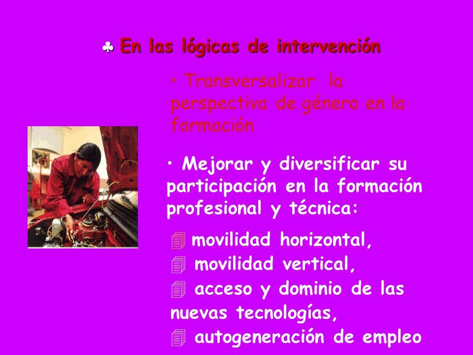 En las lógicas de intervención En las lógicas de intervención Mejorar y diversificar su participación en la formación profesional y técnica: movilidad