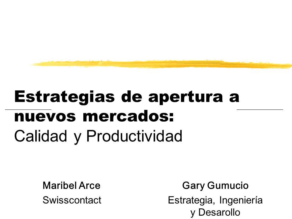 Estrategias de apertura a nuevos mercados: Calidad y Productividad Maribel Arce Swisscontact Gary Gumucio Estrategia, Ingeniería y Desarollo