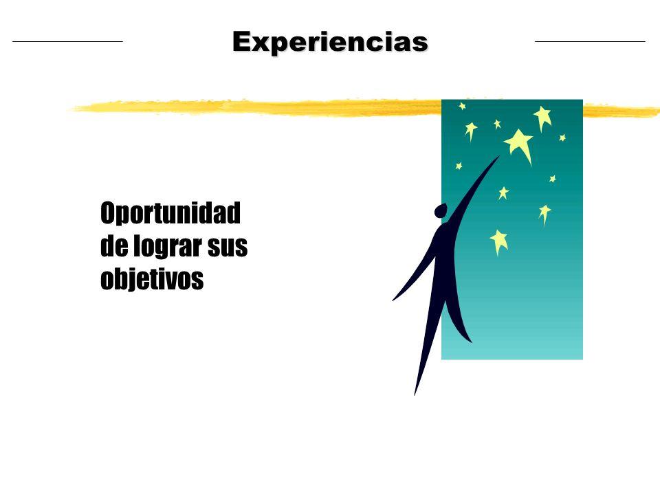 Oportunidad de lograr sus objetivos Experiencias