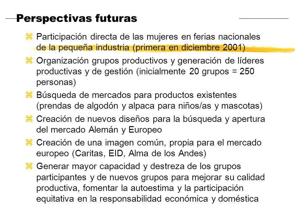 Perspectivas futuras zParticipación directa de las mujeres en ferias nacionales de la pequeña industria (primera en diciembre 2001) zOrganización grup