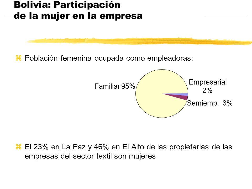 Bolivia: Participación de la mujer en la empresa zPoblación femenina ocupada como empleadoras: zEl 23% en La Paz y 46% en El Alto de las propietarias
