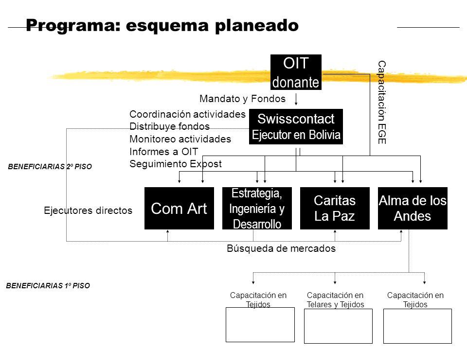 Programa: esquema planeado Swisscontact Ejecutor en Bolivia OIT donante BENEFICIARIAS 2º PISO Com Art Estrategia, Ingeniería y Desarrollo Caritas La P