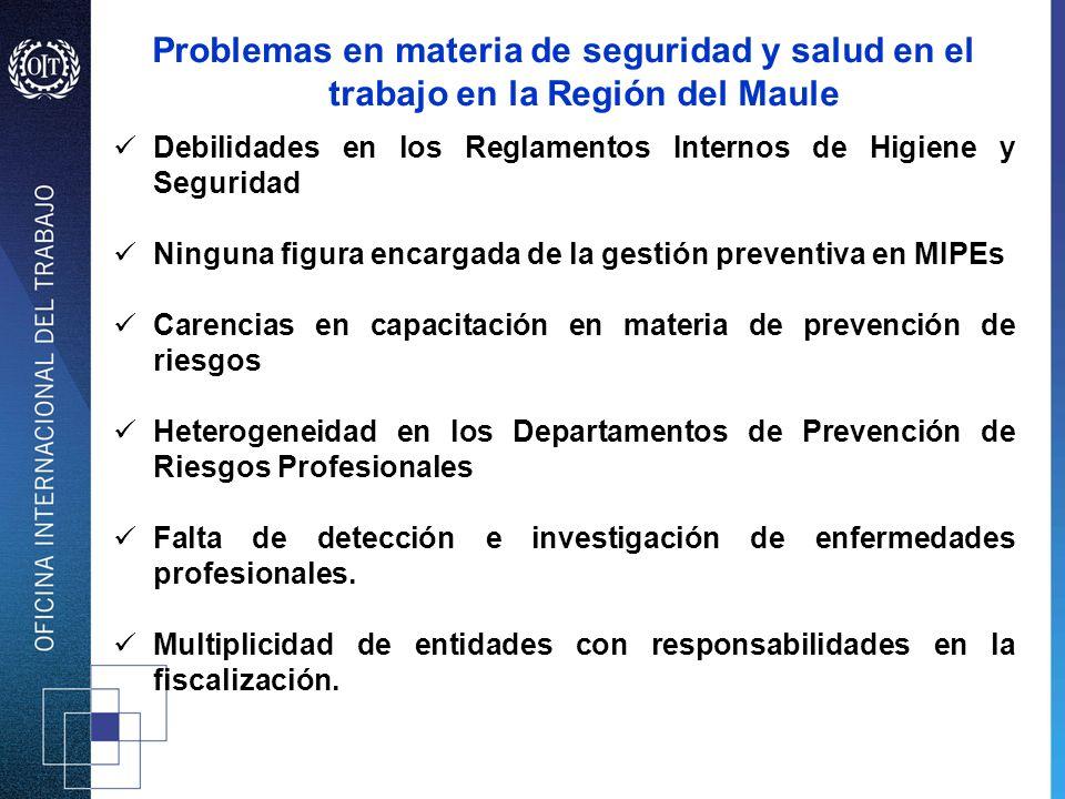Problemas en materia de seguridad y salud en el trabajo en la Región del Maule Debilidades en los Reglamentos Internos de Higiene y Seguridad Ninguna