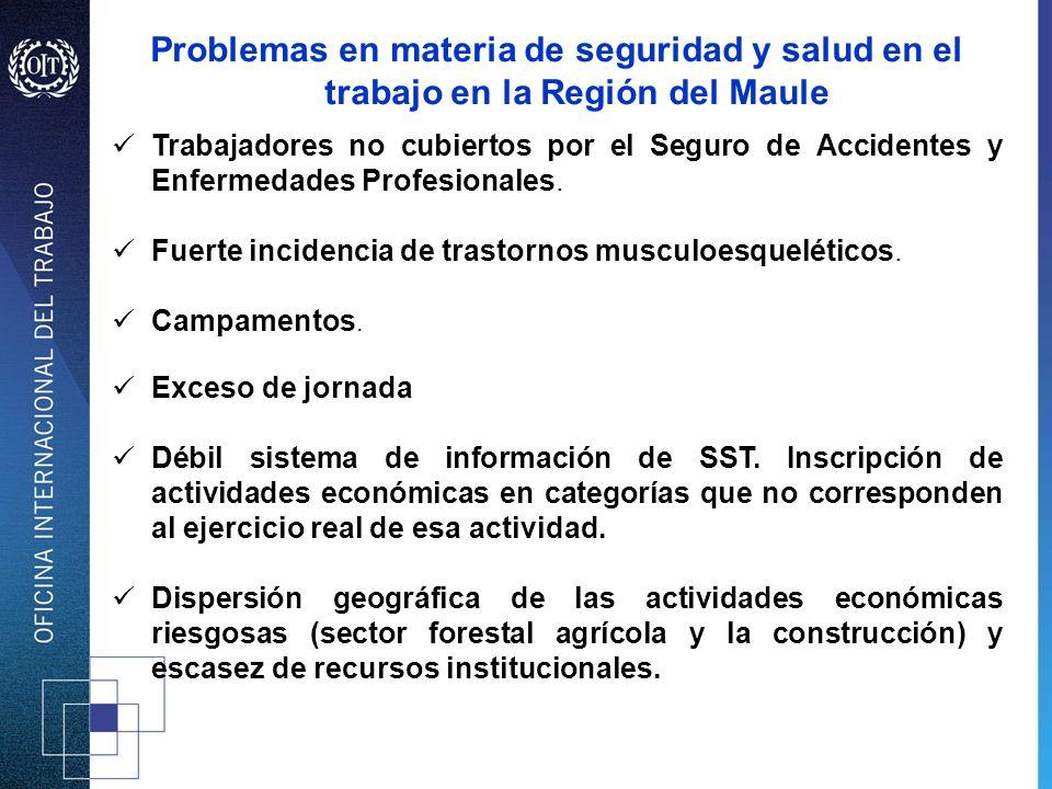 Problemas en materia de seguridad y salud en el trabajo en la Región del Maule Trabajadores no cubiertos por el Seguro de Accidentes y Enfermedades Pr