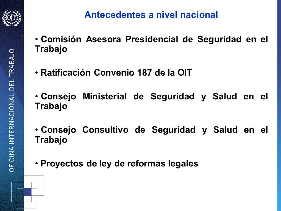 Antecedentes a nivel nacional Comisión Asesora Presidencial de Seguridad en el Trabajo Ratificación Convenio 187 de la OIT Consejo Ministerial de Segu