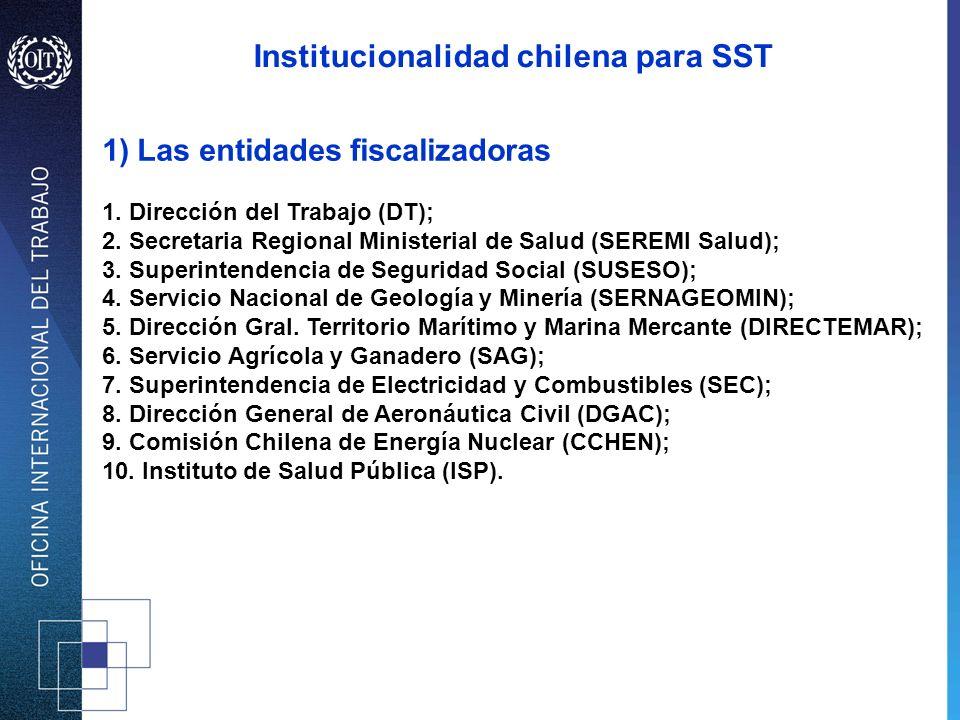 1) Las entidades fiscalizadoras 1. Dirección del Trabajo (DT); 2. Secretaria Regional Ministerial de Salud (SEREMI Salud); 3. Superintendencia de Segu