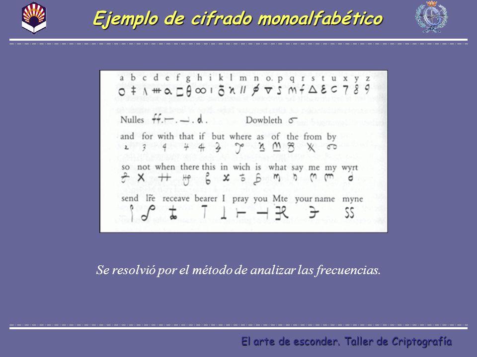 El arte de esconder. Taller de Criptografía Ejemplo de cifrado monoalfabético Se resolvió por el método de analizar las frecuencias.