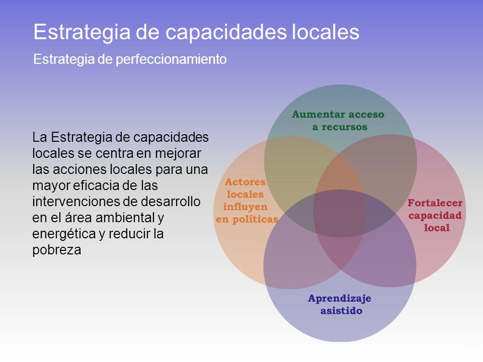 10 Estrategia de capacidades locales Estrategia de perfeccionamiento La Estrategia de capacidades locales se centra en mejorar las acciones locales para una mayor eficacia de las intervenciones de desarrollo en el área ambiental y energética y reducir la pobreza