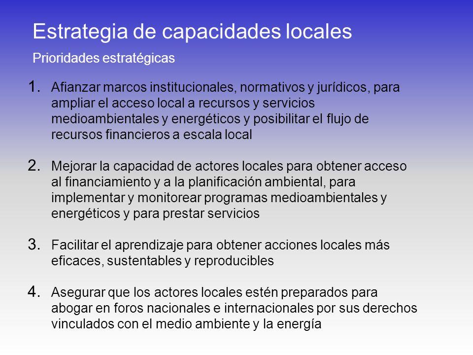 Estrategia de capacidades locales Prioridades estratégicas 1. Afianzar marcos institucionales, normativos y jurídicos, para ampliar el acceso local a