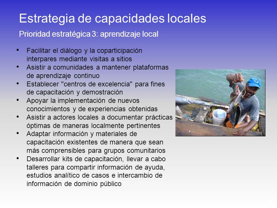 15 Facilitar el diálogo y la coparticipación interpares mediante visitas a sitios Asistir a comunidades a mantener plataformas de aprendizaje continuo