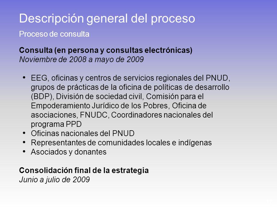 17 Consulta (en persona y consultas electrónicas) Noviembre de 2008 a mayo de 2009 EEG, oficinas y centros de servicios regionales del PNUD, grupos de