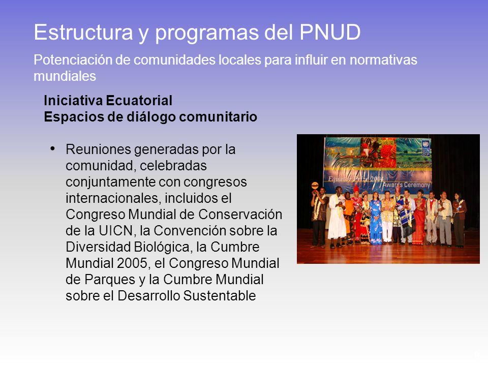 9 Iniciativa Ecuatorial Espacios de diálogo comunitario Reuniones generadas por la comunidad, celebradas conjuntamente con congresos internacionales, incluidos el Congreso Mundial de Conservación de la UICN, la Convención sobre la Diversidad Biológica, la Cumbre Mundial 2005, el Congreso Mundial de Parques y la Cumbre Mundial sobre el Desarrollo Sustentable Estructura y programas del PNUD Potenciación de comunidades locales para influir en normativas mundiales