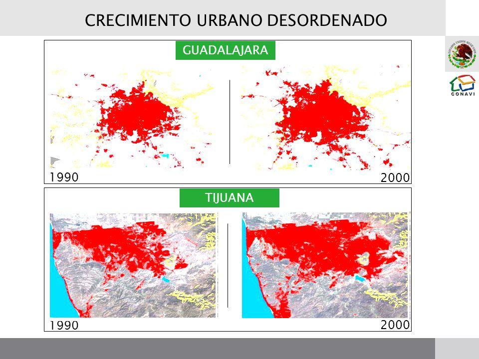 GUADALAJARA TIJUANA 1990 2000 CRECIMIENTO URBANO DESORDENADO