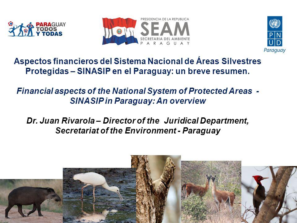 6 Millones de hectáreas 6 million hectares (15.1% of Paraguay) 60 Áreas Protegidas 60 protected areas 46 guardaparques 46 parkrangers Patrimonio de USD 480 M en tierras US$ 480 million worth of land Inversión estatal USD 250.000; US$ 0,16 por ha.
