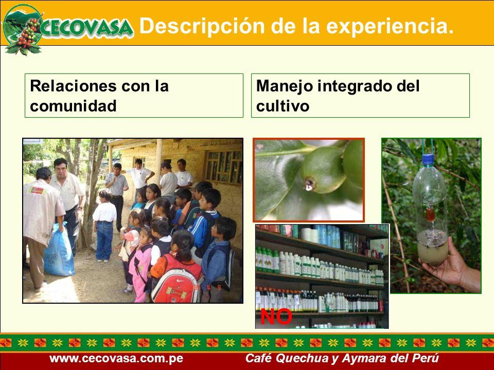 www.cecovasa.com.pe Café Quechua y Aymara del Perú Relaciones con la comunidad Manejo integrado del cultivo Descripción de la experiencia. NO