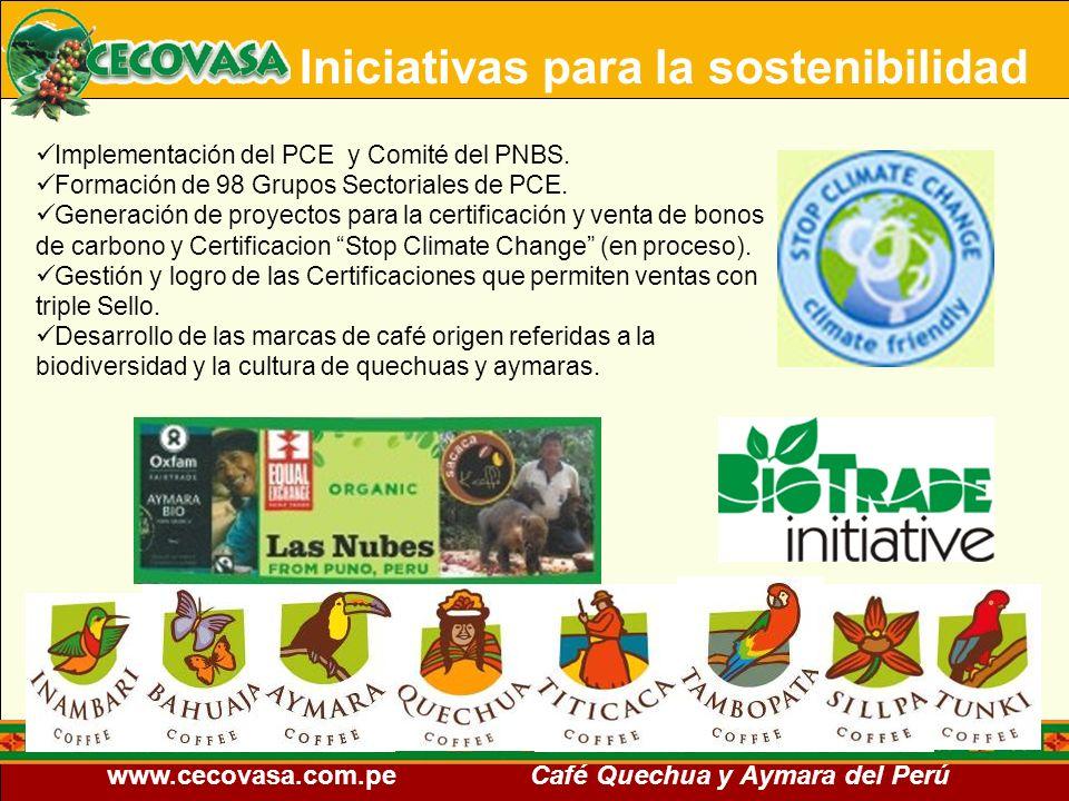 www.cecovasa.com.pe Café Quechua y Aymara del Perú Iniciativas para la sostenibilidad Implementación del PCE y Comité del PNBS. Formación de 98 Grupos