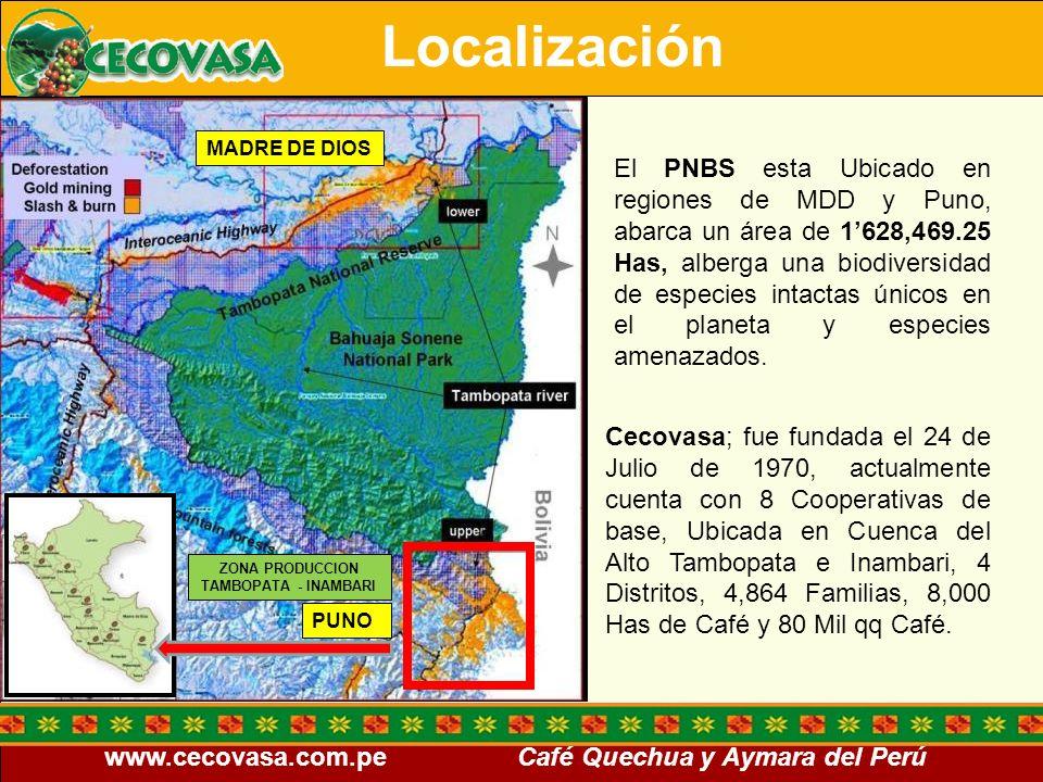 www.cecovasa.com.pe Café Quechua y Aymara del Perú Promover la conservación de la biodiversidad y la belleza paisajística del ANP a través del desarrollo de las prácticas de la caficultura sostenible en las zonas de amortiguamiento e influencia del PNBS, que permitan disminuir los impactos negativos ocasionados por la agricultura migratoria y la actividad de la caficultura tradicional en la zona del Alto tambopata e Inambari Objetivo: