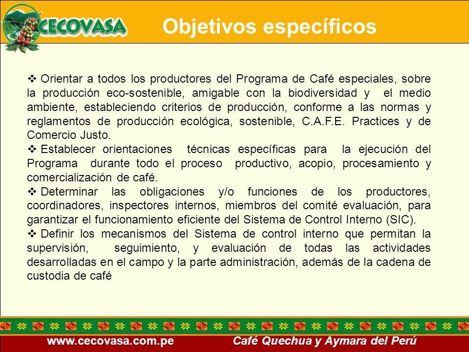 www.cecovasa.com.pe Café Quechua y Aymara del Perú Objetivos específicos Orientar a todos los productores del Programa de Café especiales, sobre la pr