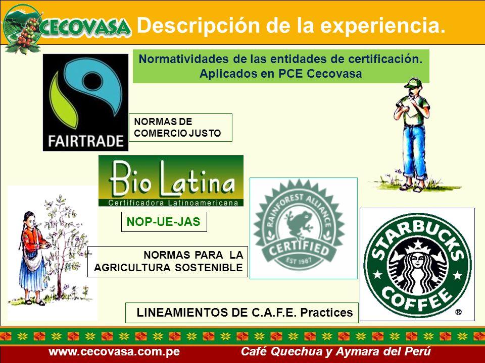 www.cecovasa.com.pe Café Quechua y Aymara del Perú NORMAS DE COMERCIO JUSTO LINEAMIENTOS DE C.A.F.E. Practices NORMAS PARA LA AGRICULTURA SOSTENIBLE N