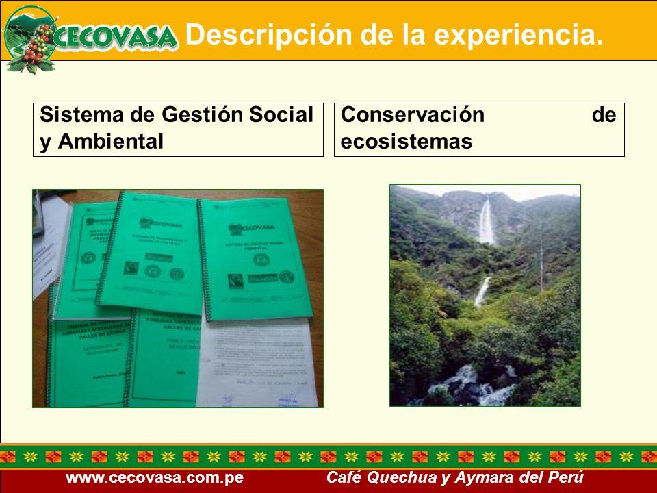 www.cecovasa.com.pe Café Quechua y Aymara del Perú Sistema de Gestión Social y Ambiental Conservación de ecosistemas Descripción de la experiencia.
