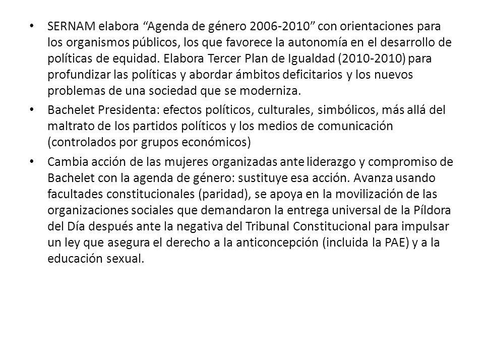 SERNAM elabora Agenda de género 2006-2010 con orientaciones para los organismos públicos, los que favorece la autonomía en el desarrollo de políticas de equidad.
