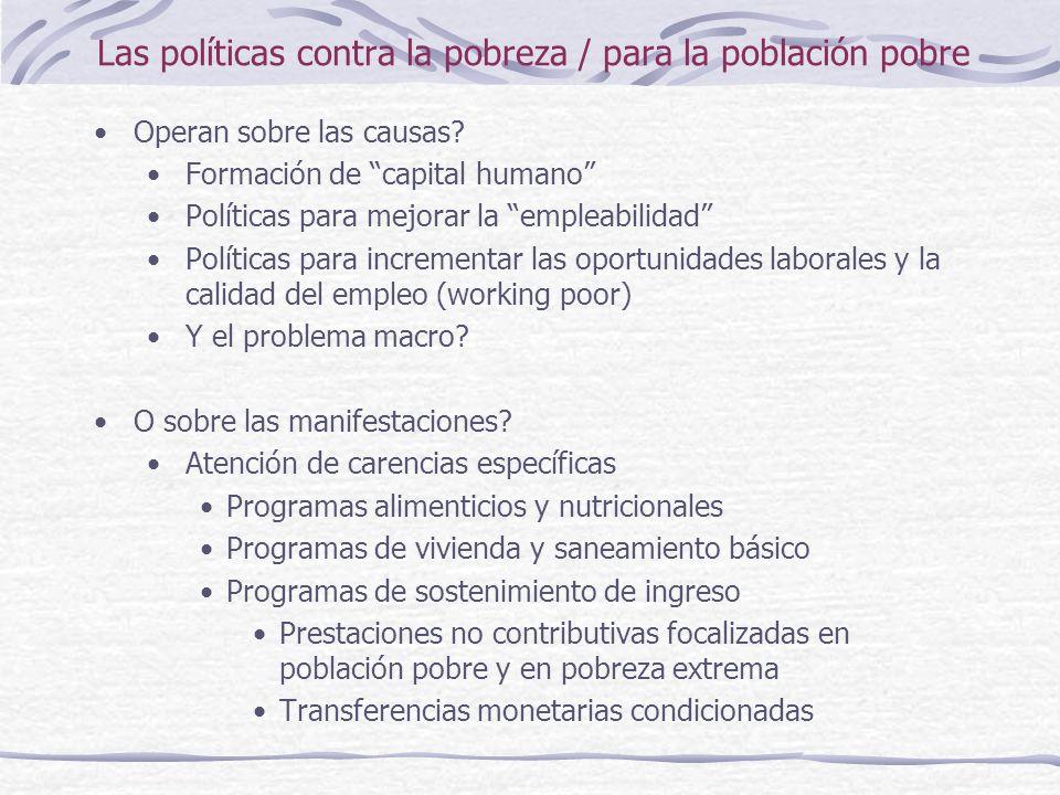 Las políticas contra la pobreza / para la población pobre Operan sobre las causas.