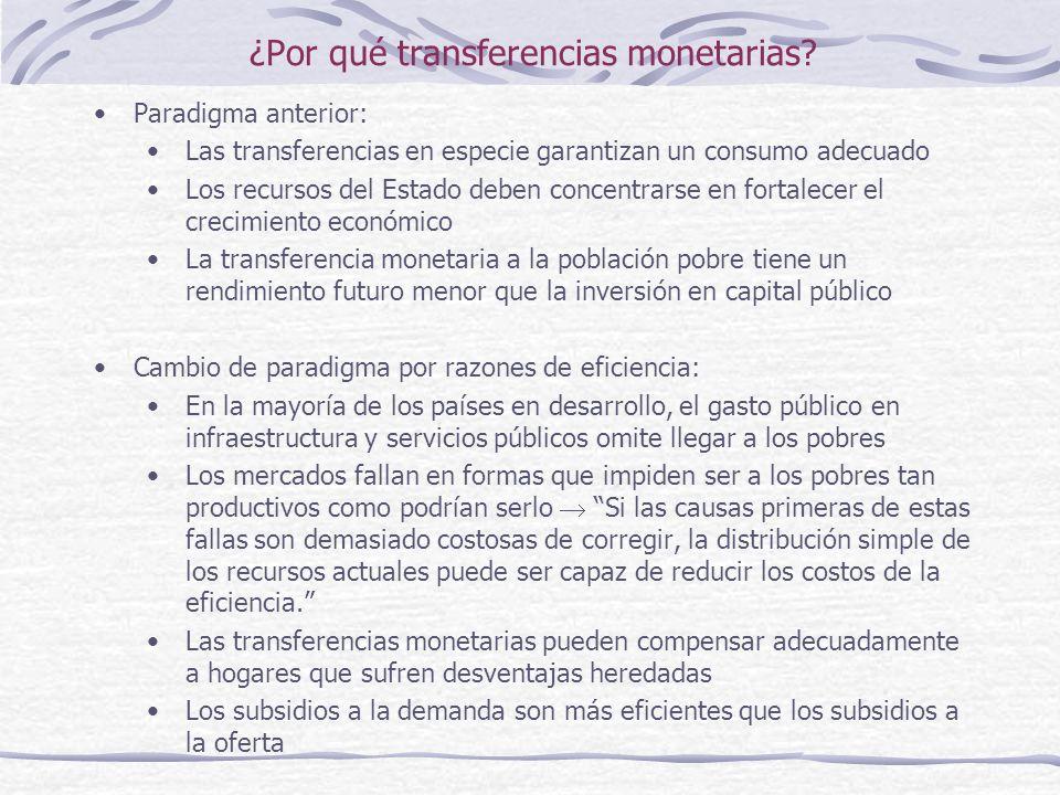 ¿Por qué transferencias monetarias.