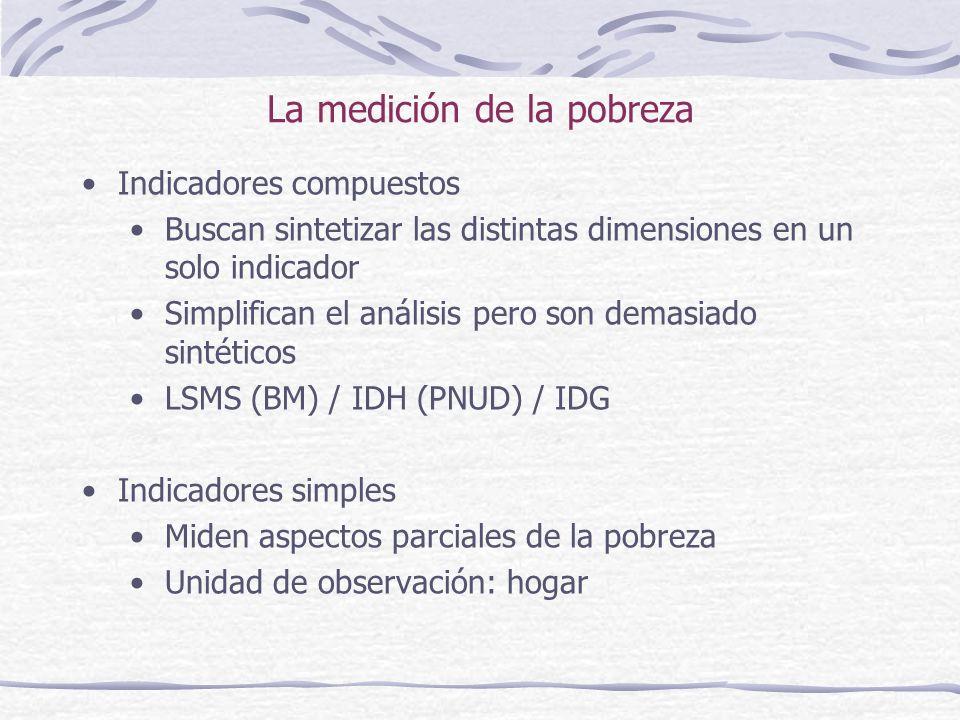 La medición de la pobreza Indicadores compuestos Buscan sintetizar las distintas dimensiones en un solo indicador Simplifican el análisis pero son demasiado sintéticos LSMS (BM) / IDH (PNUD) / IDG Indicadores simples Miden aspectos parciales de la pobreza Unidad de observación: hogar